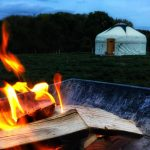 campfire by the yurts