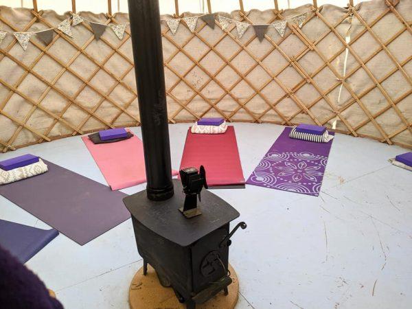 yoga in a yurt